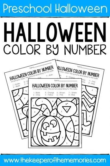 Color By Number Halloween Preschool Worksheets