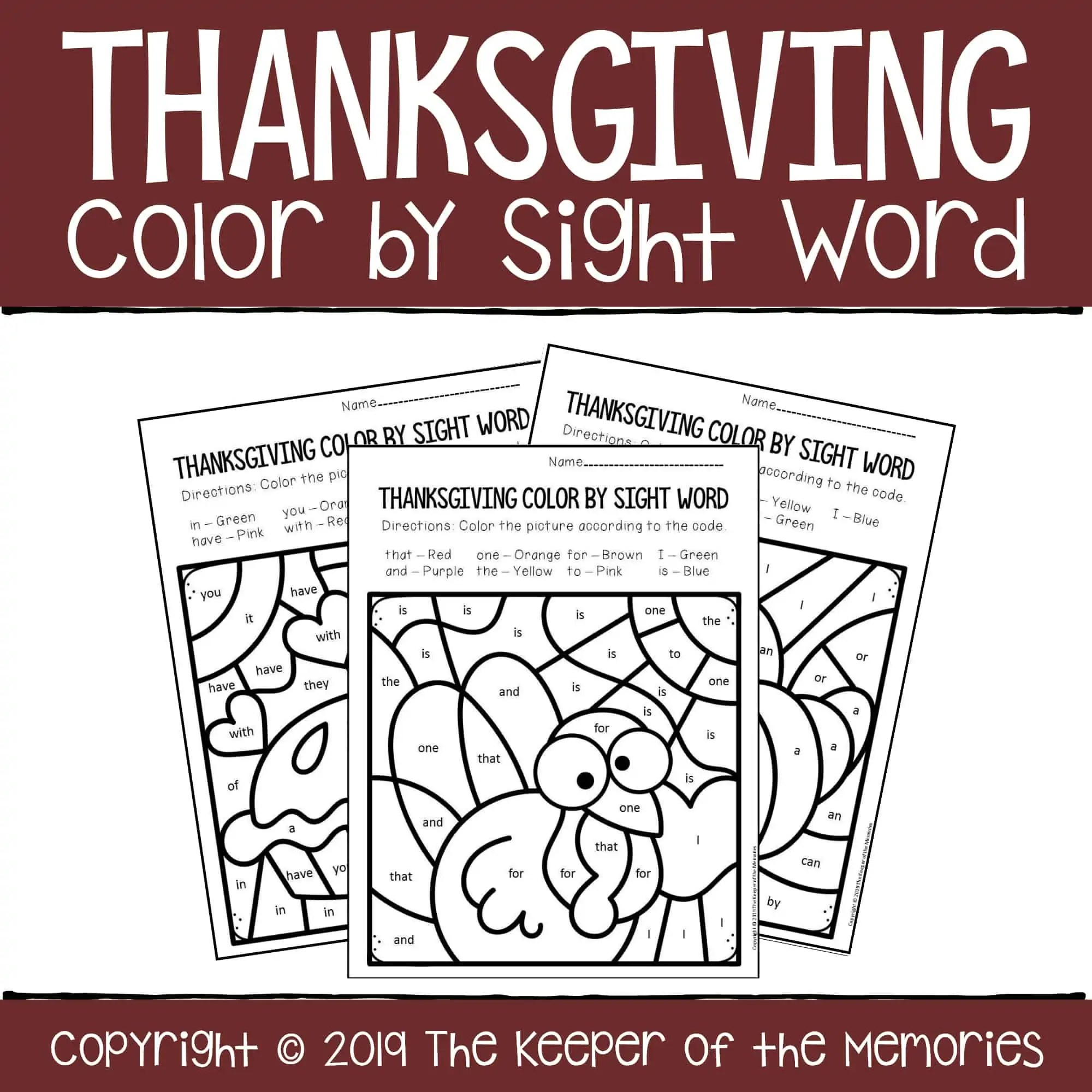 Color By Sight Word Thanksgiving Coloring Pages Cover