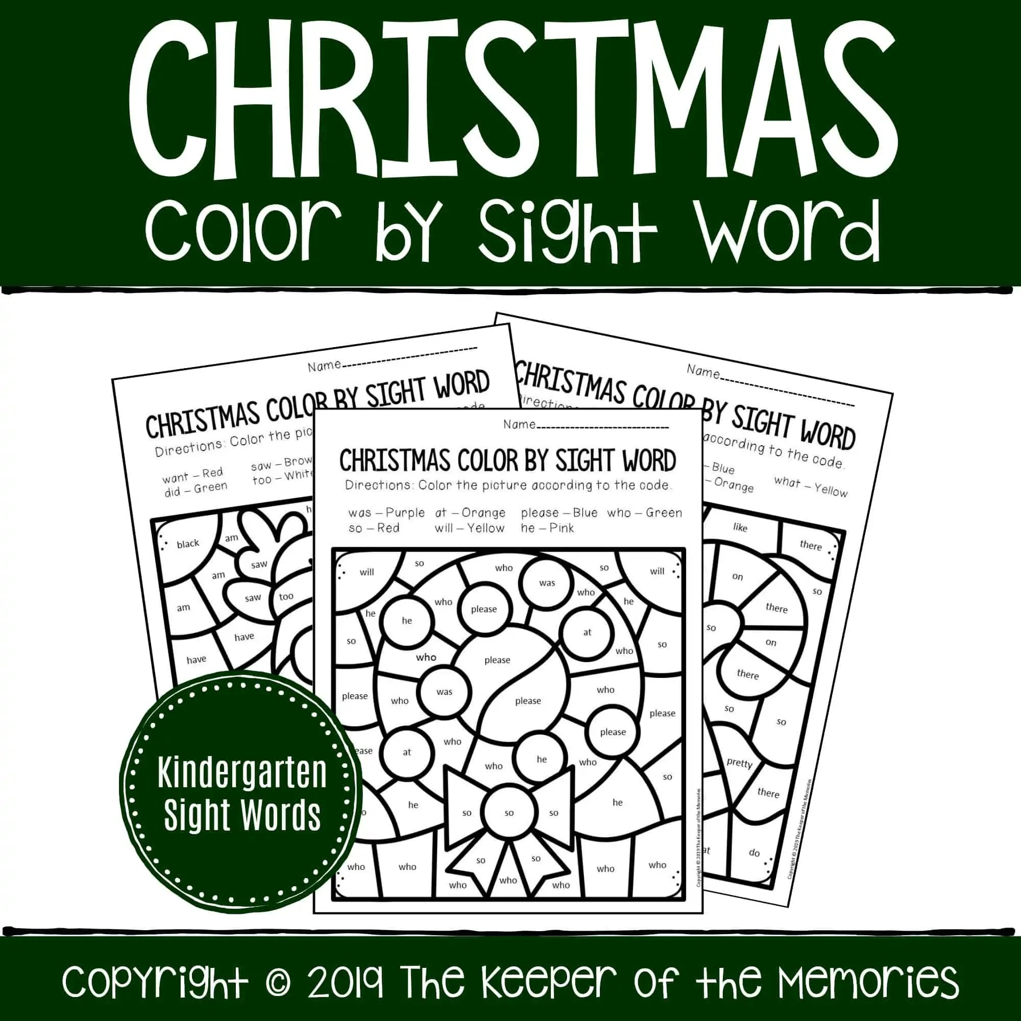 Color By Sight Word Christmas Kindergarten Worksheets