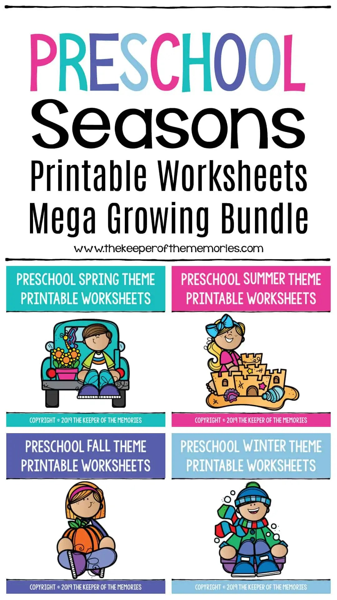 Preschool Seasons Printable Worksheets Mega Bundle
