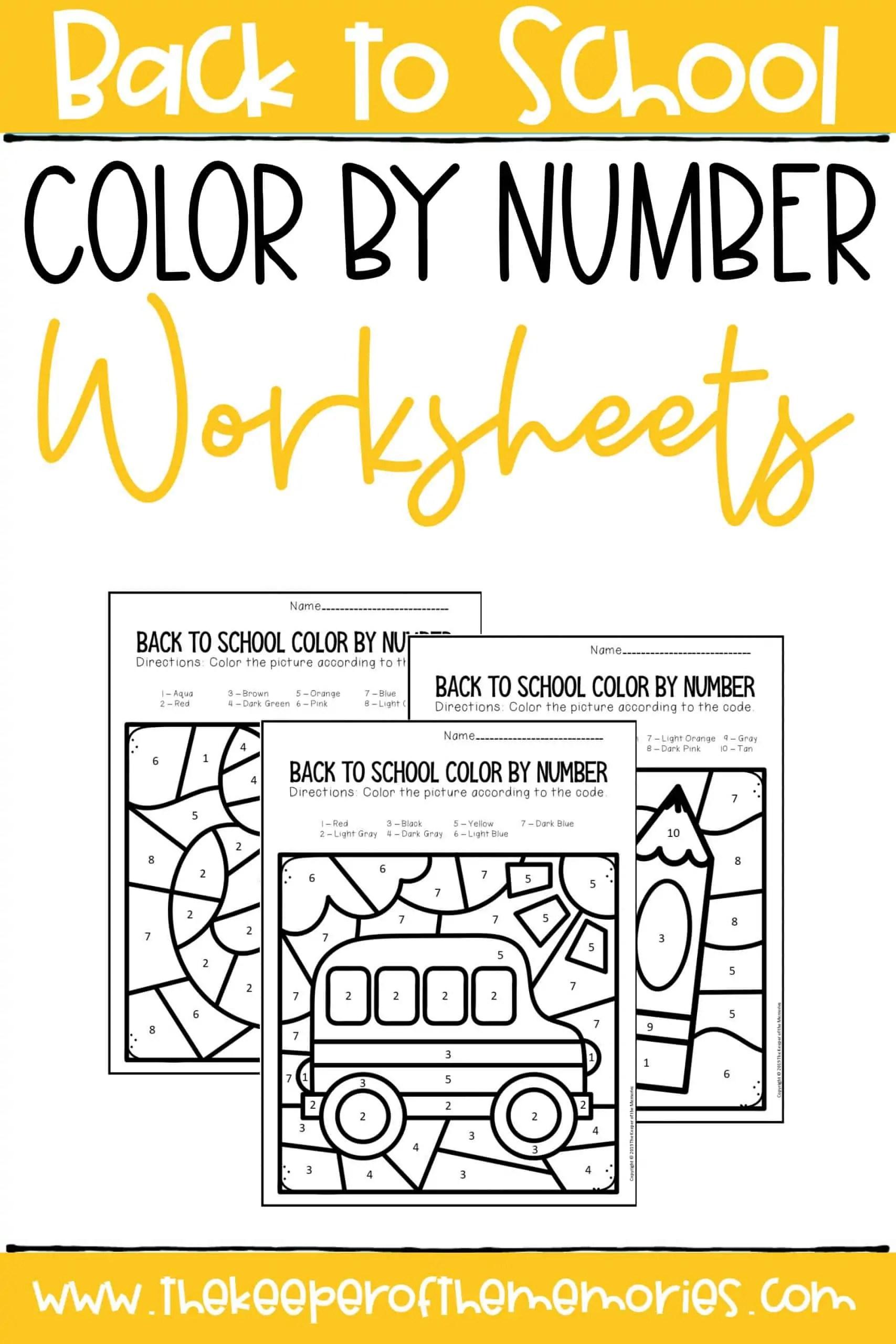 Back To School Color By Number Kindergarten Worksheets