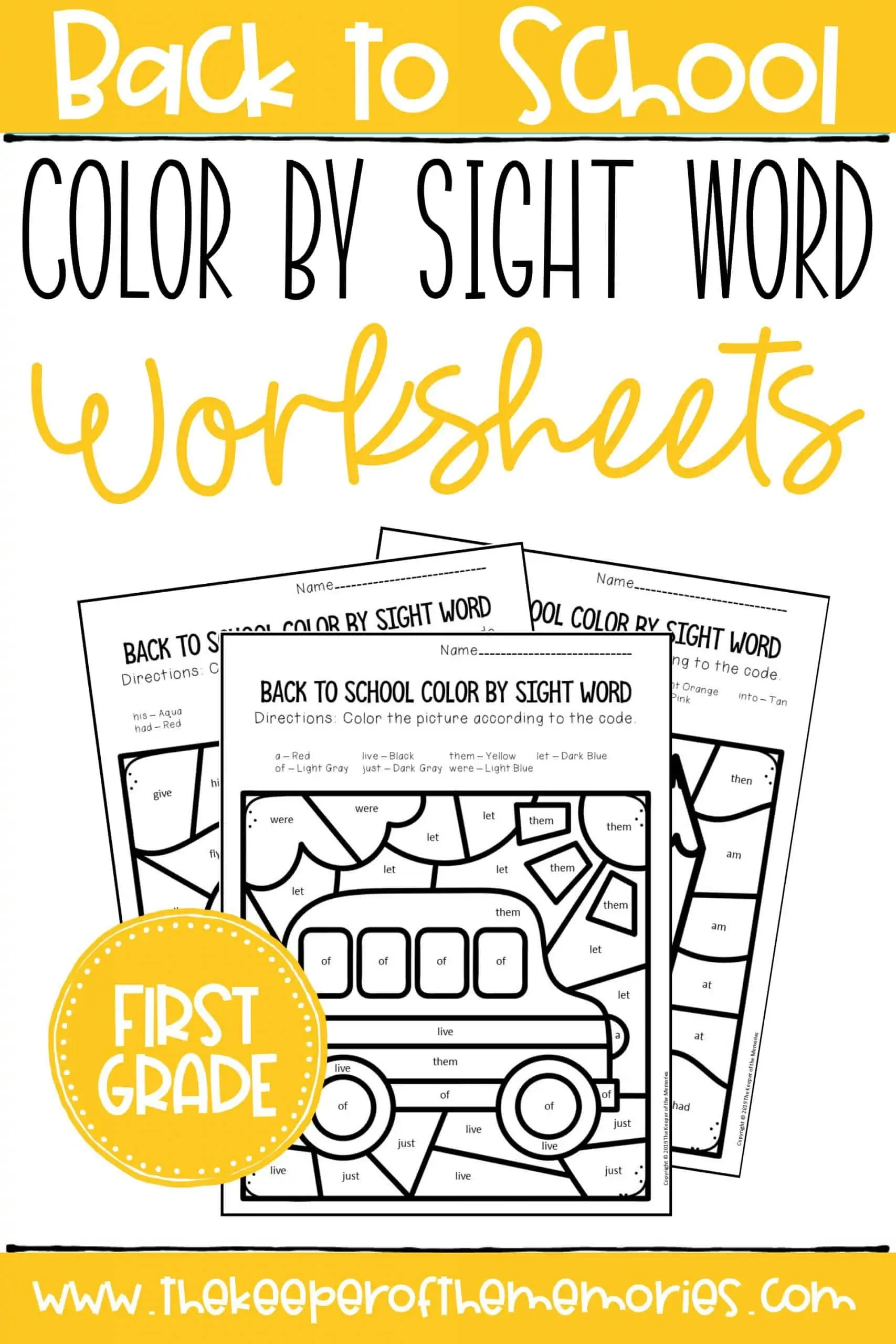 Back To School Color By Sight Word First Grade Worksheets