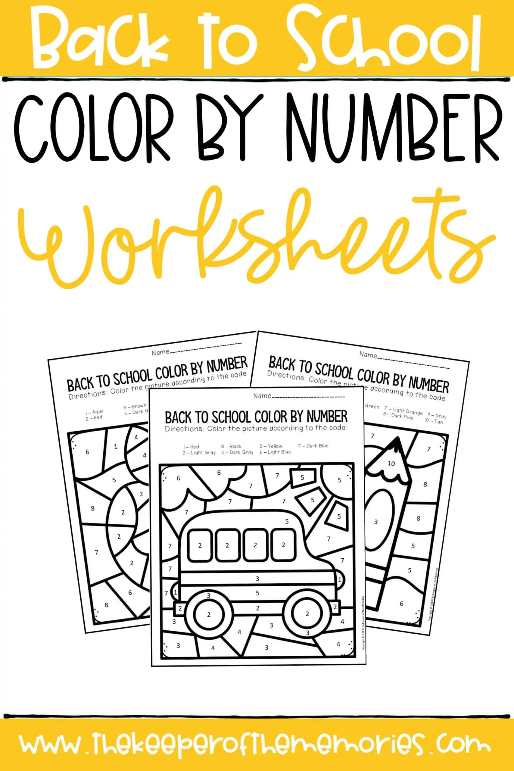Color By Number Back To School Kindergarten Worksheets