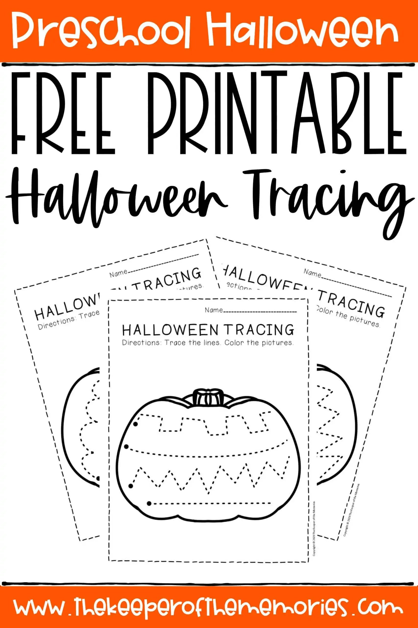 Free Printable Tracing Halloween Preschool Worksheets