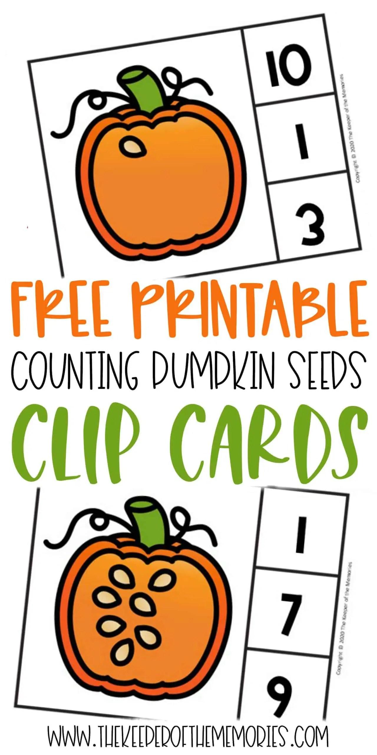 Free Printable Counting Pumpkin Seeds Halloween Numbers