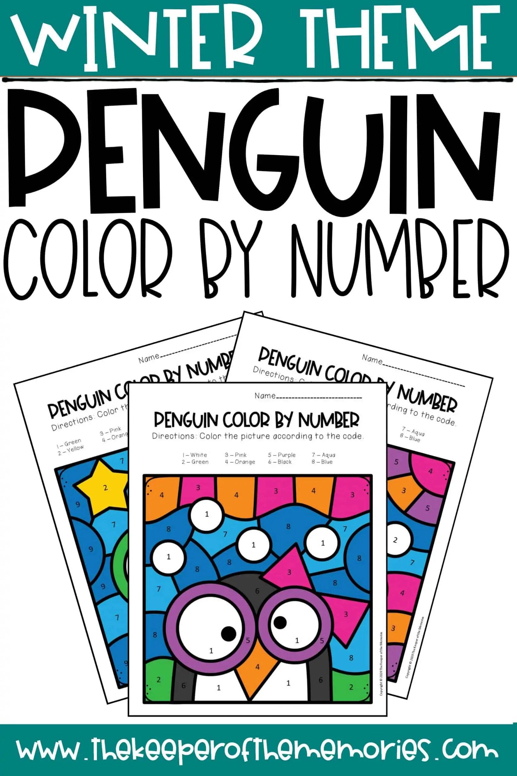 Penguin Color By Number Worksheets