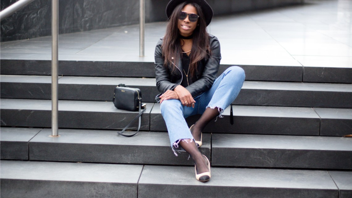 Leather Moto Jacket with Cropped Flared Jeans