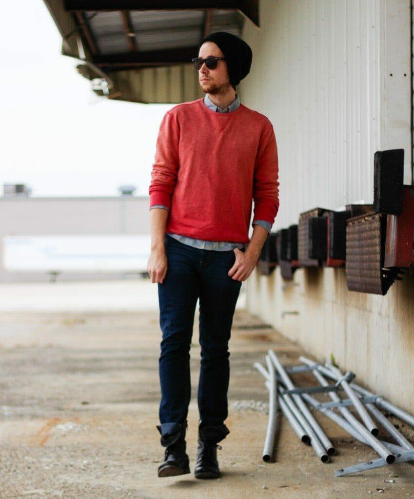 The Kentucky Gent in 21Men Sweatshirt, Floral Print Denim Shirt from Topman, Jeans from Reco, 21Men Beanie, Ray-Ban Wayfarers, Steve Madden Troopah2 Boots