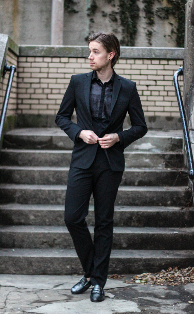The Kentucky Gent in Zara Suit and Sequined Shirt with G.H. Bass Metallic Weejuns