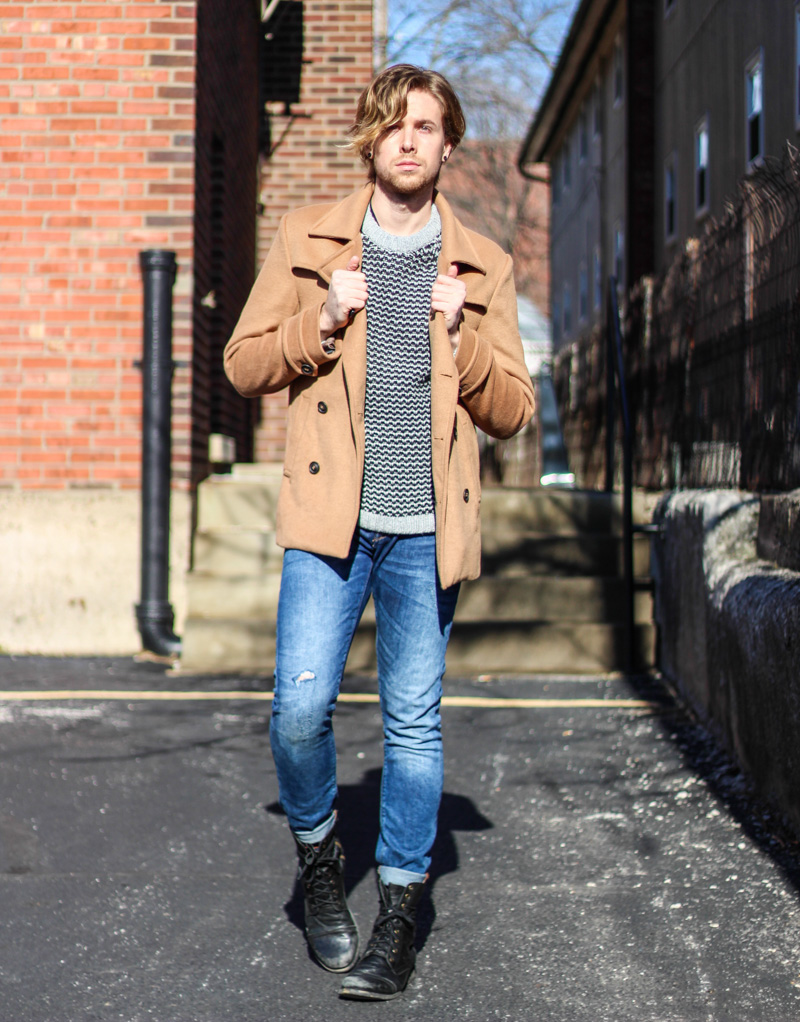 The Kentucky Gent in 21Men Camel Coat, H&M Sweater, Zara Jeans, and Steve Madden Troopah2 Boots