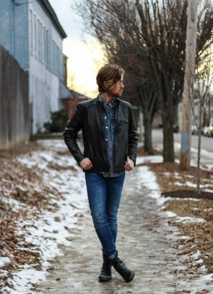 The Kentucky Gent in Andrew Marc Leather Jacket, Your Neighbors Polka Dot Shirt, Levis Denim Vest, Zara Jeans, and Steve Madden Boots