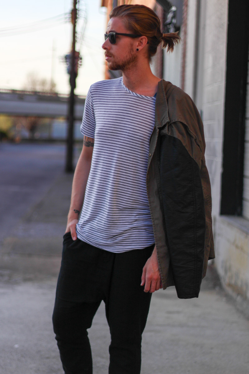 The Kentucky Gent in H&M Military Jacket, Copy Collection Striped T-Shirt, H&M Linen Harem Pants, Black Chucks, and Rayban Wayfarers