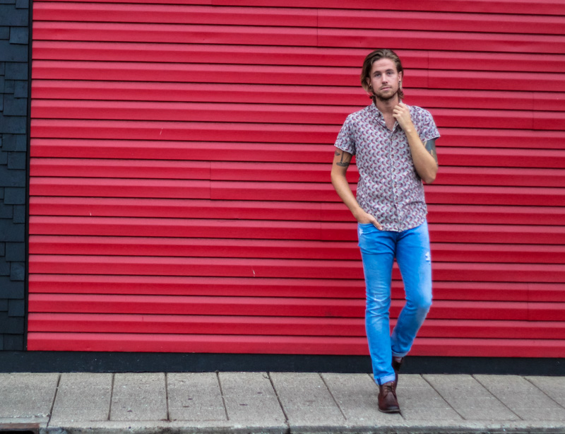 The Kentucky Gent in Obey Paisley Shirt, H&M Light Wash Denim Jeans, and Steve Madden Chukka Boots.