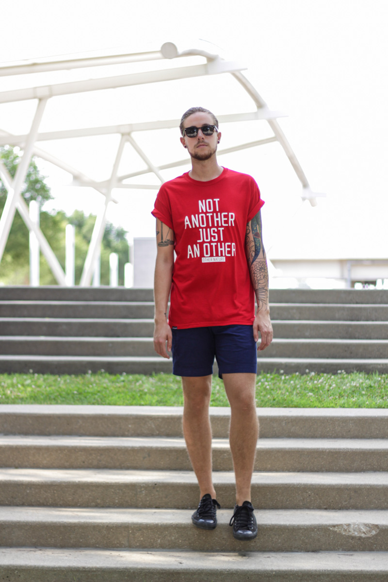 The Kentucky Gent in Other Nature Clothing T-Shirt, H&M Shorts, Converse Chuck Taylors, and Original Penguin Briscoe Sunglasses.