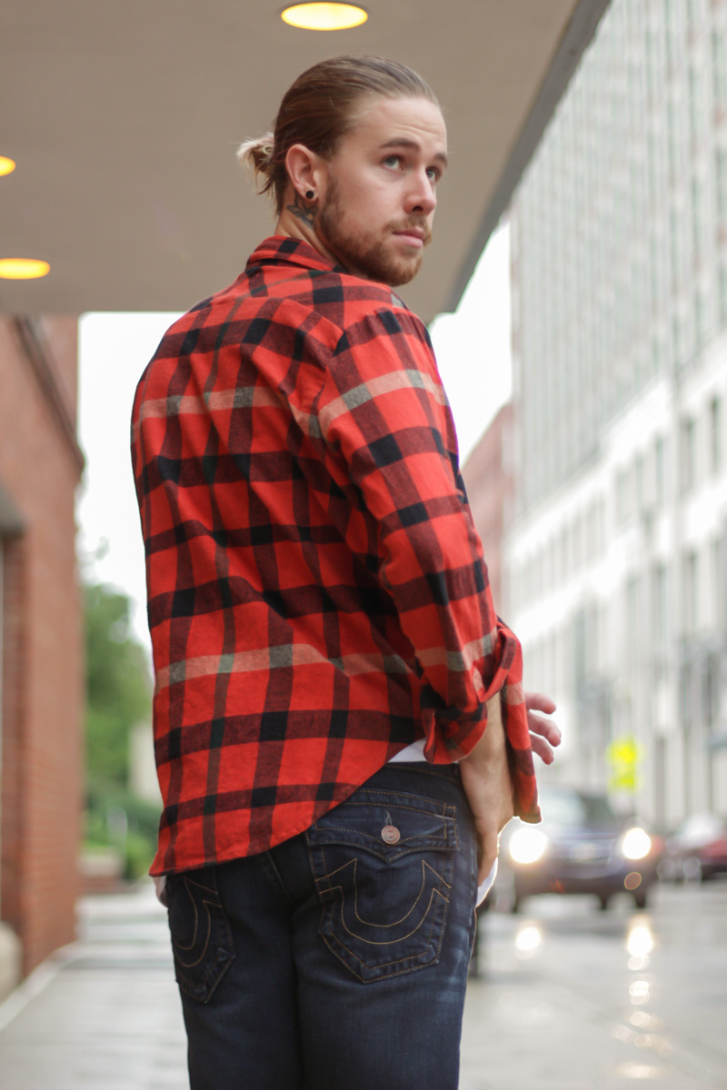 The Kentucky Gent, a Southern men's fashion and life style blog, in UNIF Plaid Shirt, Topman Muscle Shirt, True Religion Billy Jeans, and Converse Chuck Taylors.