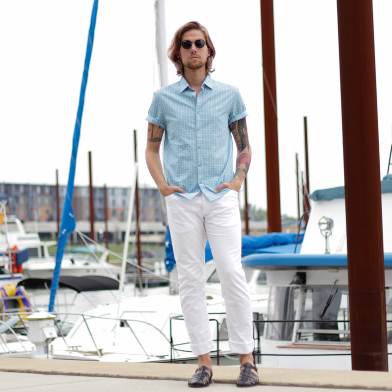The Kentucky Gent, a men's southern life and style blogger, in Original Penguin Shirt, H&M White Twill Pants, Zara Sandals, and Original Penguin Sunglasses.