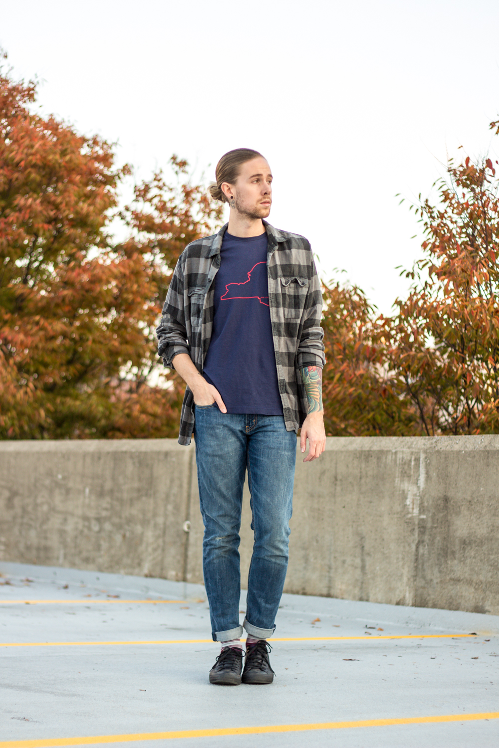 The Kentucky Gent, a men's fashion and lifestyle blogger in Louisville, Kentucky, wearing Original Penguin Tee, Devil's Rejects Plaid Shirt, Levi's 511 Jeans, Richer Poorer Socks, and Converse Chuck Taylors.