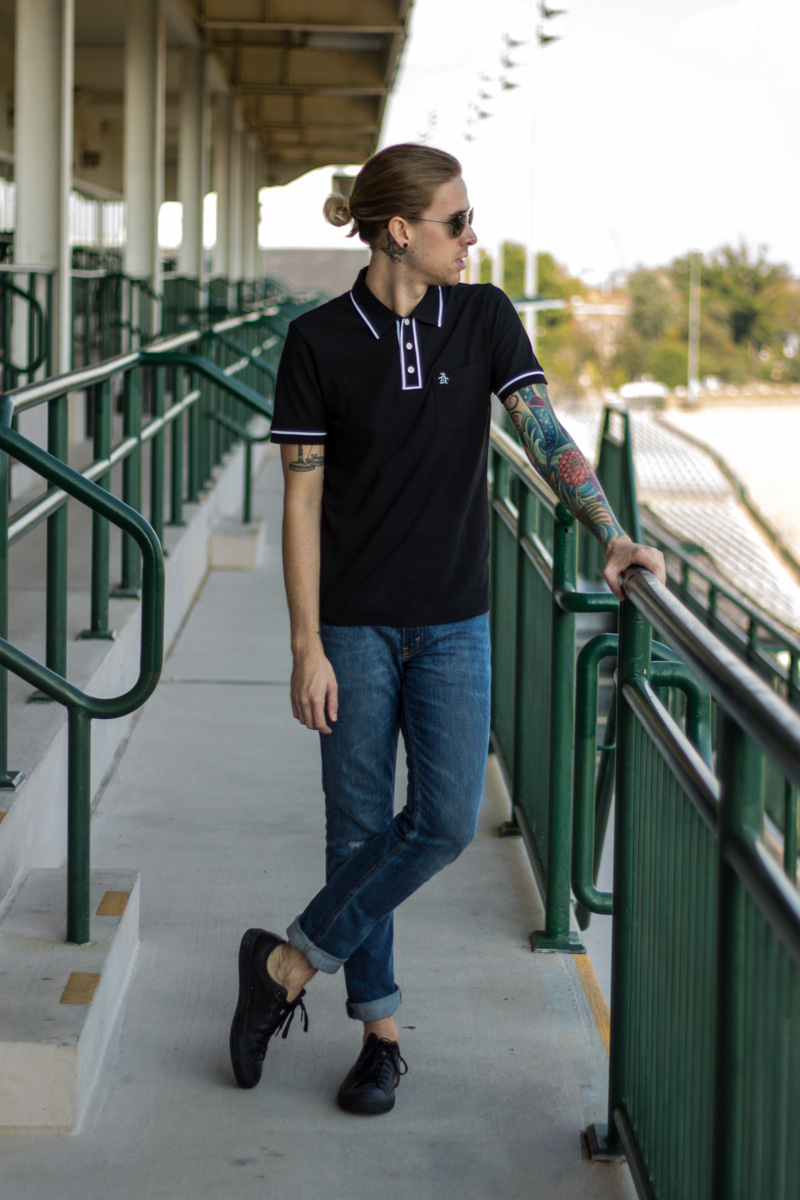 The Kentucky Gent, a men's fashion and life style blogger, in Original Penguin Polo Shirt, Levi's 511 Jeans, Converse Chuck Taylors, and Ray-Ban Aviator Sunglasses.