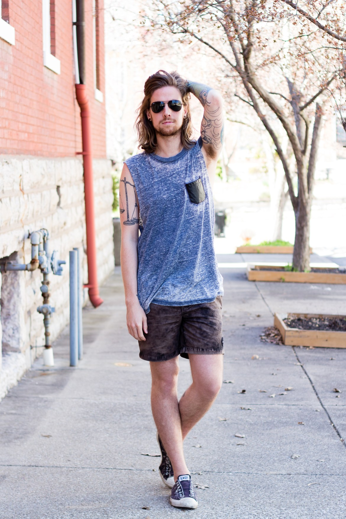 Urban Outfitters Tank Top and RVCA Shorts on The Kentucky Gent