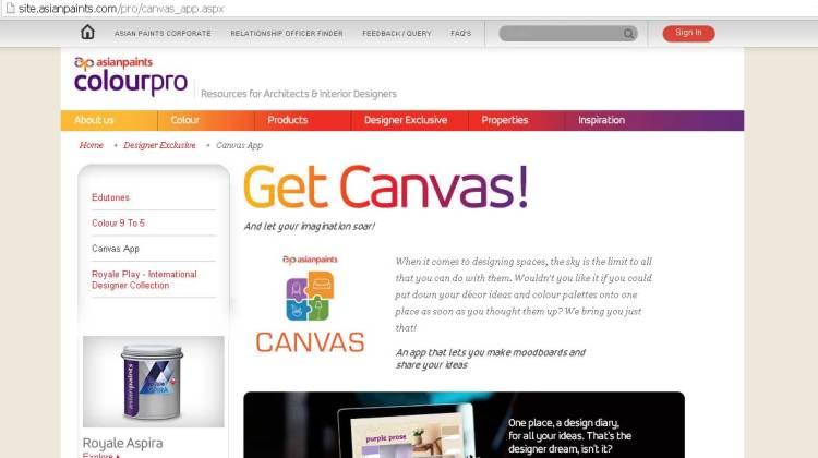 canvas app on the Asian Paints