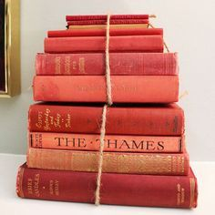 Pile of books in living coral colour