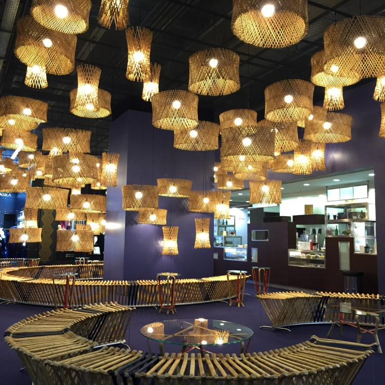 Sandeep Sangaru's brilliant Starry Nights Café, built out of bamboo – showcasing - strong benches, tables and lampshades