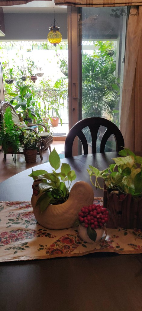 Jayashree Rajan's garden apartment tour on The Keybunch: green balcony with rattan chair