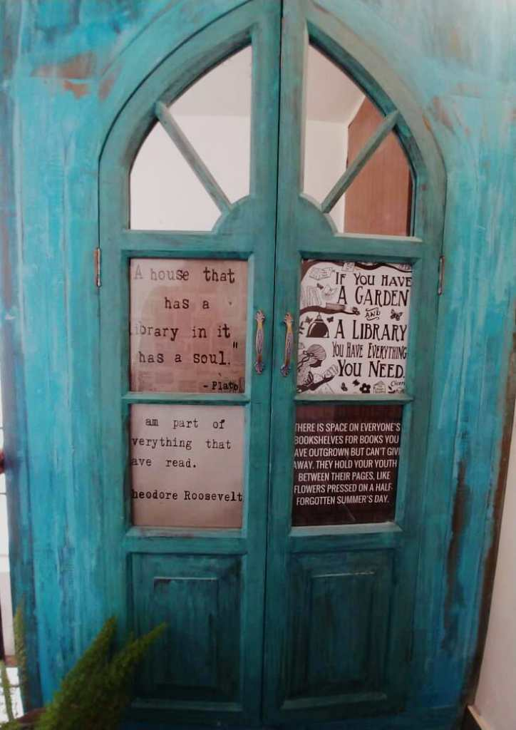 A decked up library door