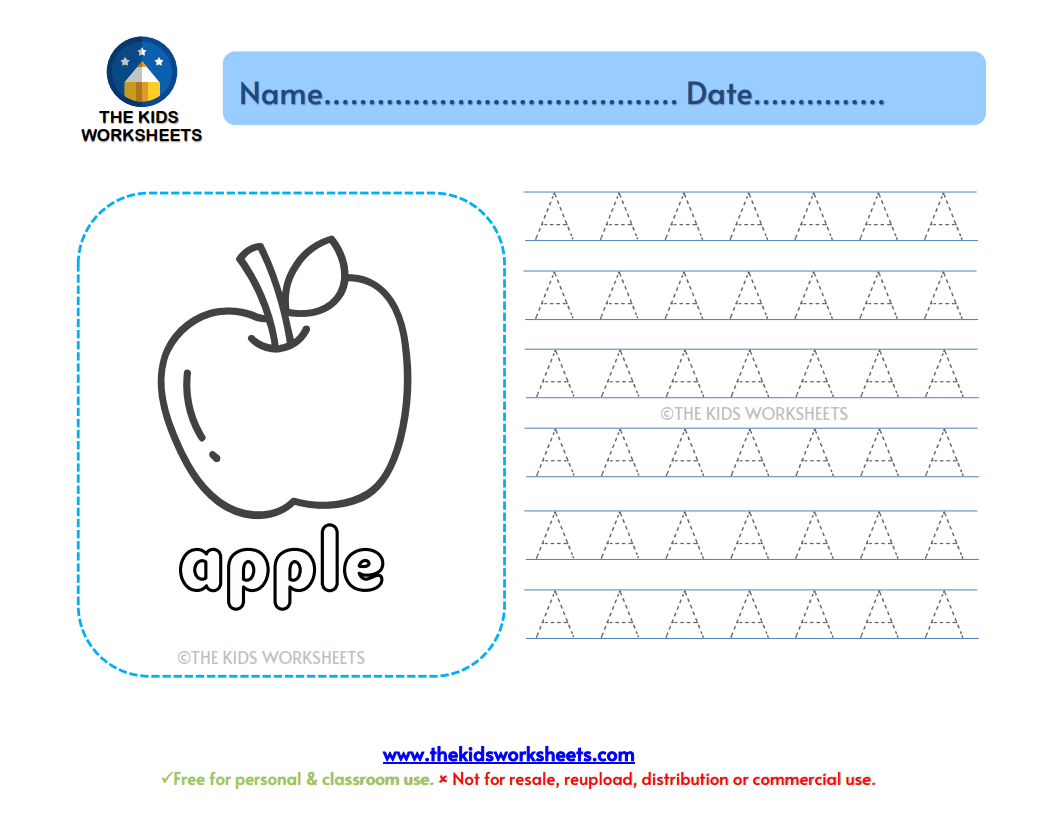 Trace The Letter Aa The Kids Worksheets