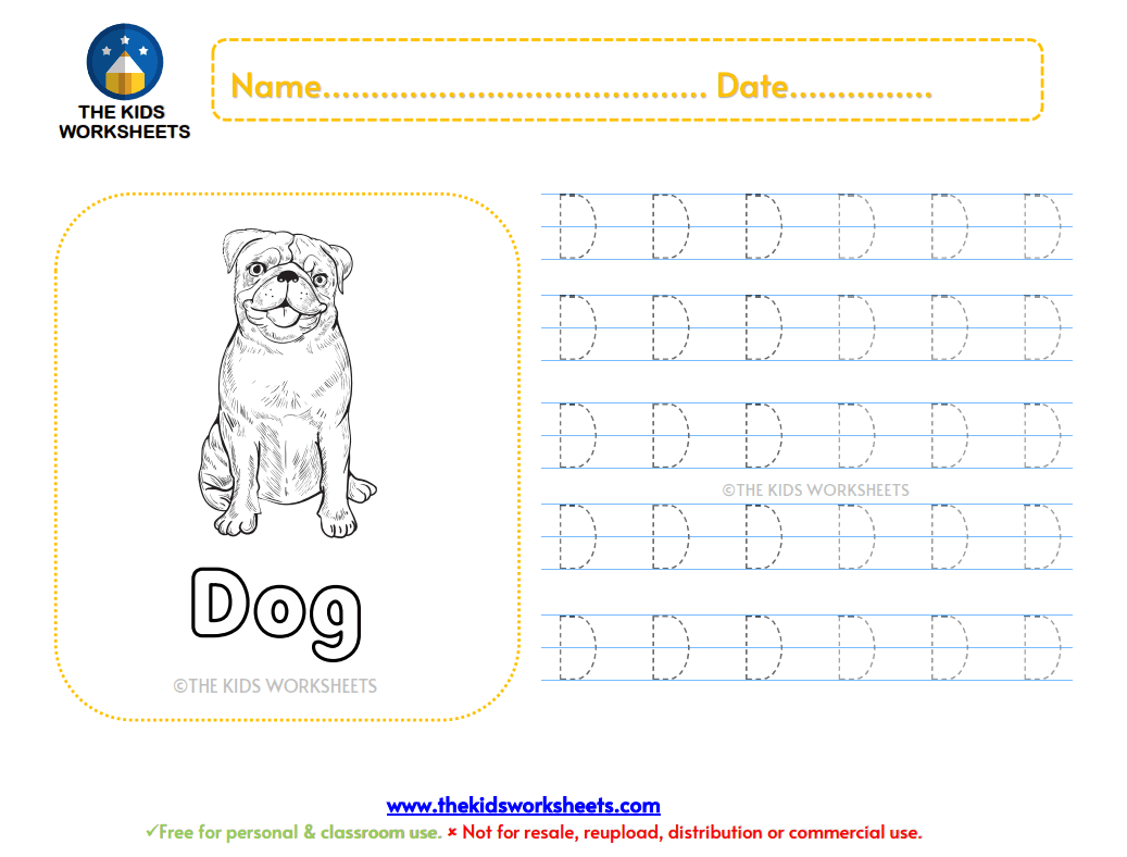 Trace The Letter D The Kids Worksheets