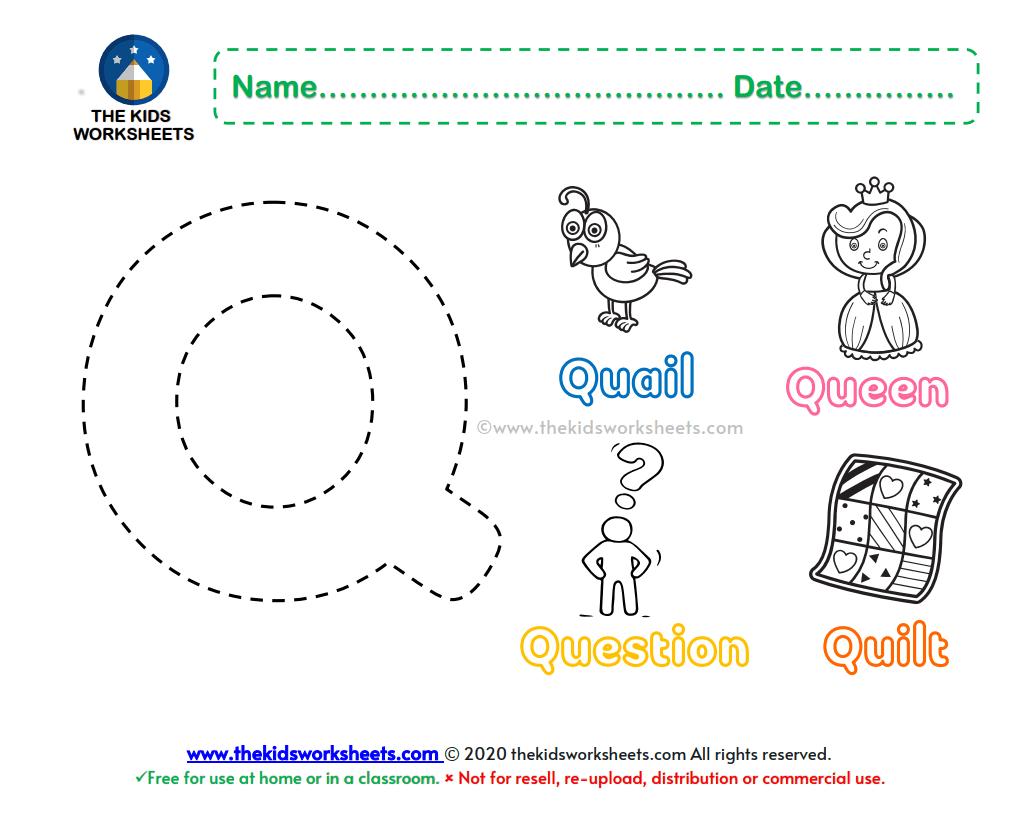 Letter Q Color Worksheet The Kids Worksheets