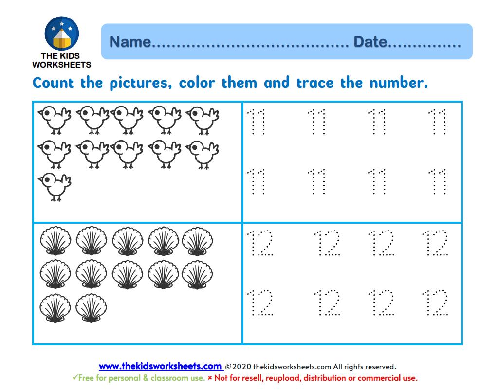 Trace Number 11 12 Worksheet The Kids Worksheets