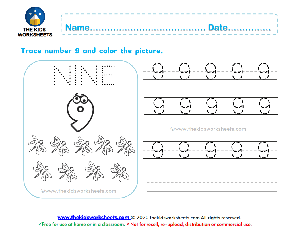 Trace Number 9 Worksheet The Kids Worksheets