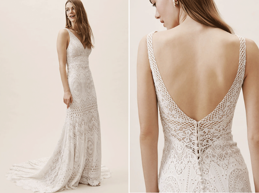 ccf1f4307ef7 With a plunge neckline and body-hugging silhouette, this sultry gown is  finished with a long row of covered buttons and a sweeping train.