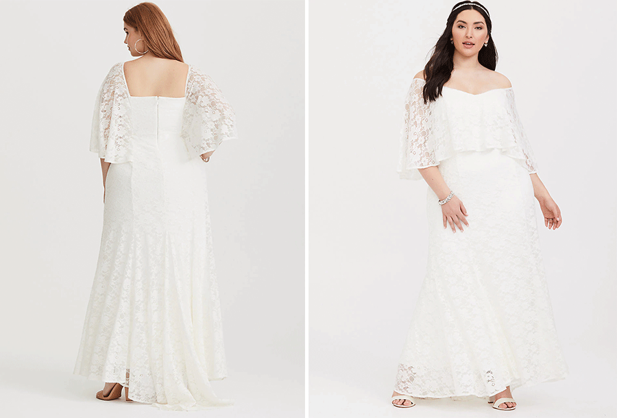fbb3ac6d428 A capelet overlay and trumpet flare adds movement to a stunning  stretch-lace gown thoughtfully designed with an opaque lining and mini  train.