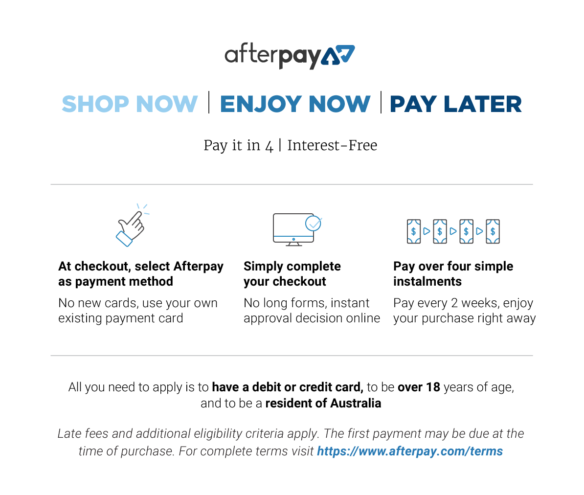 AfterPay Enjoy Now - Pay later