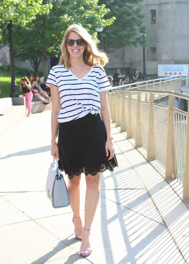 Black and white stripe tee with aline skirt