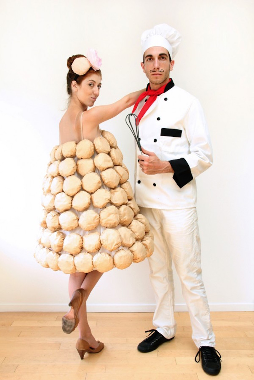 stuck by lighting diy french chef and croquembouche halloween couples costume 2015
