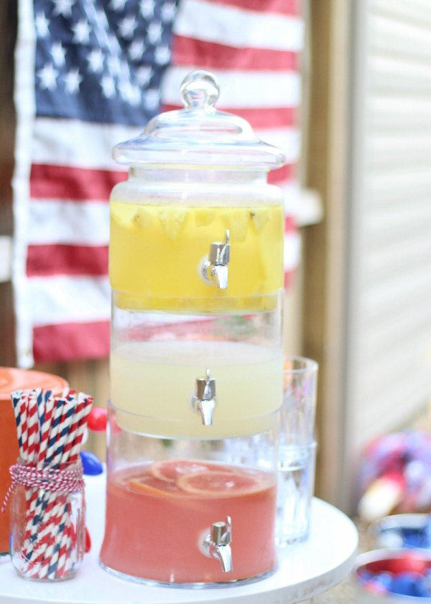3 tier margarita tower for a 4th of July Party