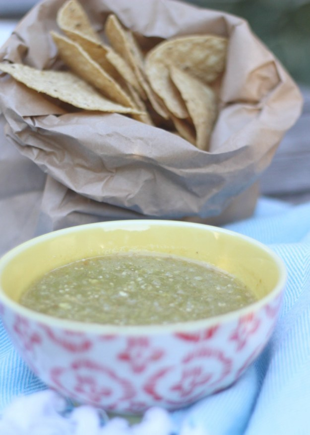 The Kissing Booth Blog - Homemade green salsa for a 4th of July party