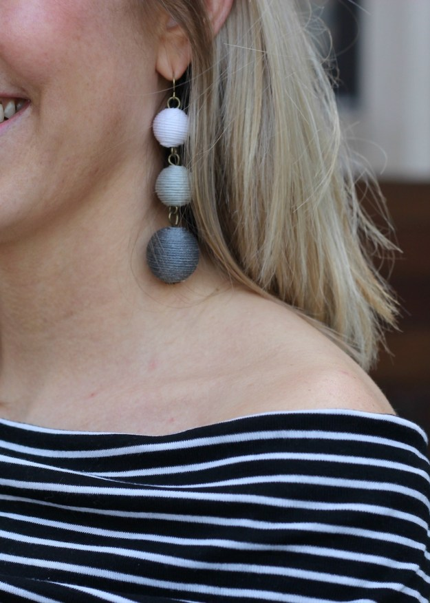Baublebar earrings and stripe off the shoulder top