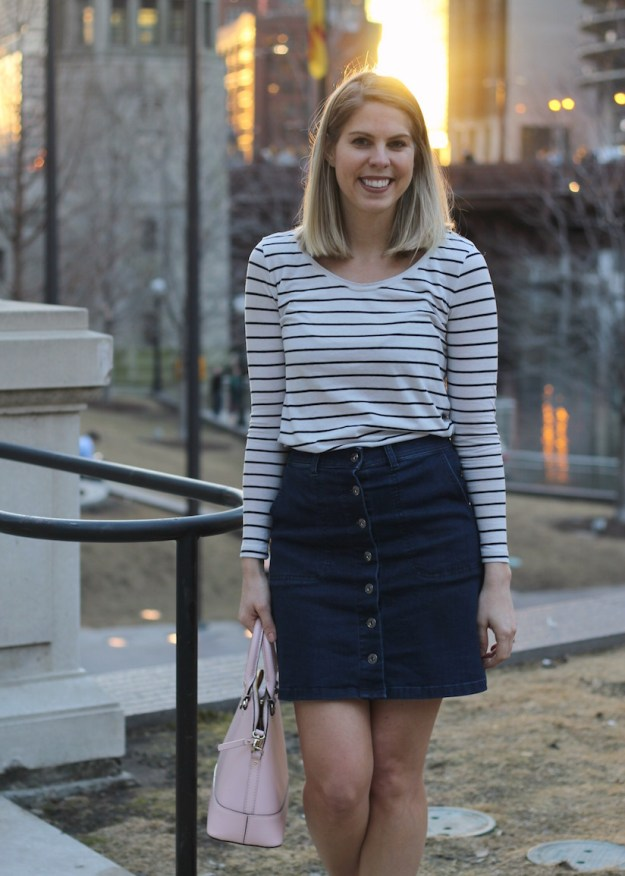 Jean skirt with stripe shirt for casual Friday