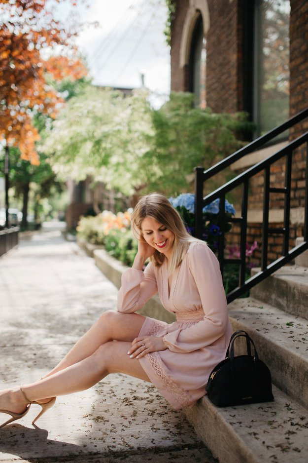 Blush Pink Summer Dress with mini Vera Bradley black bag