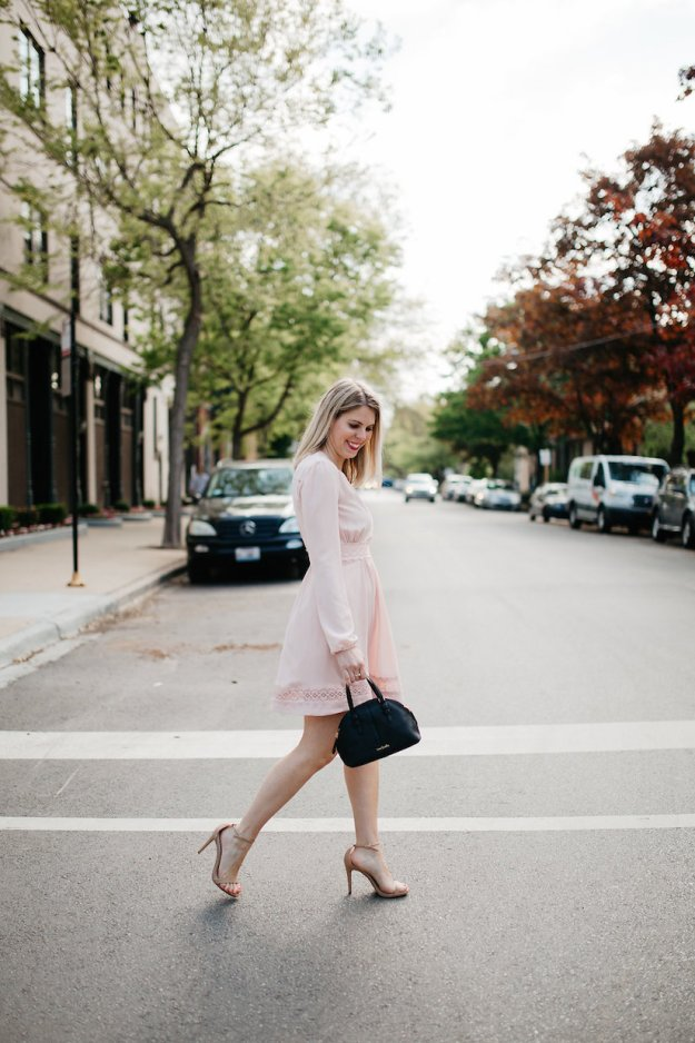 Walking in a Blush Pink long sleeve dress