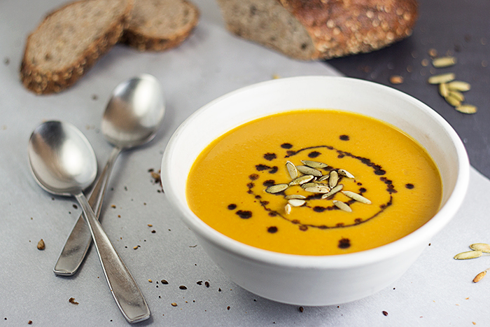 German Cream of Pumpkin Soup (Kürbiscremesuppe) by the Kitchen Maus