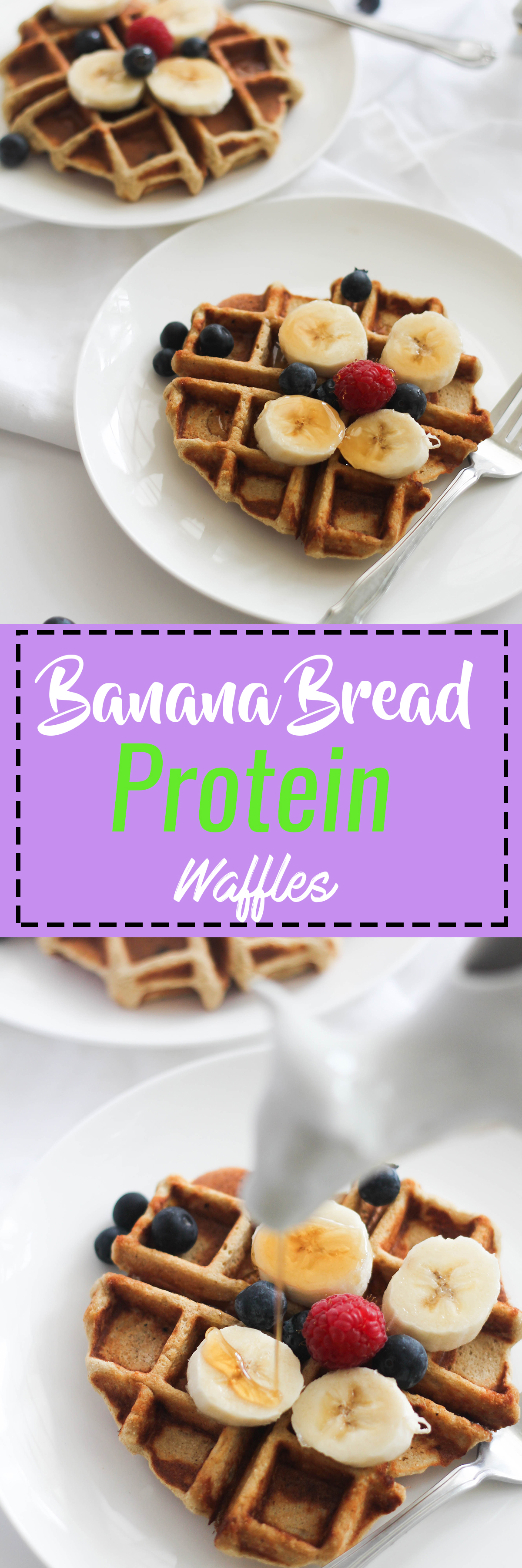 Banana Bread Protein Waffles that are vegan, healthy, gluten free, and protein packed! They're filled with flavor, natural sweetness, and are the perfect weekend breakfast.