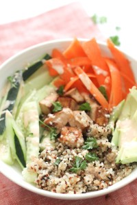 This quinoa tofu sushi bowl is a great, healthy and plant based alternative to your classic sushi. Filled with nutrients, flavor, protein, and finished off with a spicy dressing, this bowl comes together in 20 minutes and makes for a great meal.