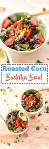 This roasted corn buddha bowl is filling, nourishing, and full of flavor. With the spice from the dressing and flavor of the roasted bell pepper, this meal makes for a satisfying and delicious dinner.