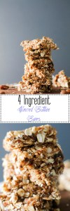 These four ingredient almond butter bars are vegan, gluten free, and perfect for a quick snack. They're naturally sweet, filled with healthy fats and complex carbs, and don't require any baking! They come together in under an hour and are great for a pick me up.