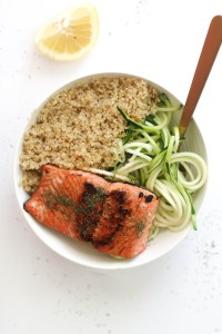 These maple glazed salmon bowls are the perfect quick and healthy dinner. They require minimal ingredients, are paleo friendly, and are incredibly delicious.